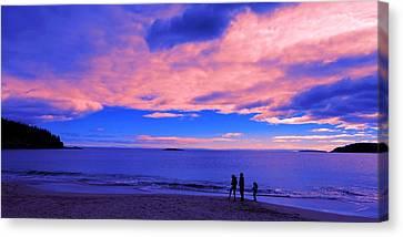 Sunset On Sand Beach Acadia National Park Maine Canvas Print