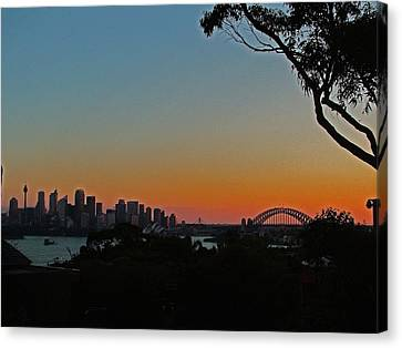 Canvas Print featuring the photograph Sunset On Sydney Harbour  by Ankya Klay