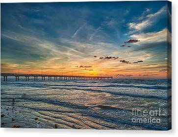 Sunrise On Texas Beach Canvas Print by Tod and Cynthia Grubbs