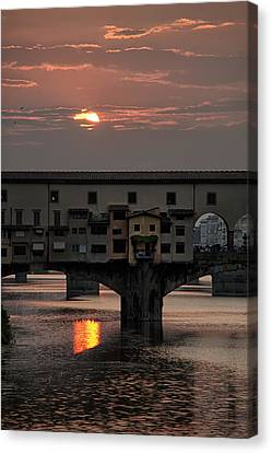 Sunset On The Arno River Canvas Print by Melany Sarafis