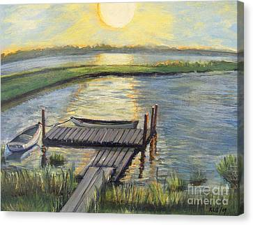 Sunset On The Bay Canvas Print by Rita Brown