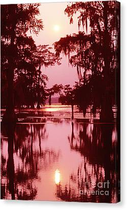 Canvas Print featuring the photograph Sunset On The Bayou Atchafalaya Basin Louisiana by Dave Welling