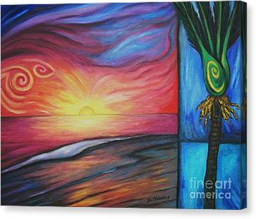Sunset On The Beach And Nikau Palm Canvas Print