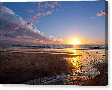 Sunset On The Beach At Carlsbad. Canvas Print by Melinda Fawver
