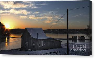 Canvas Print featuring the photograph Sunset On The Bog by Gina Cormier