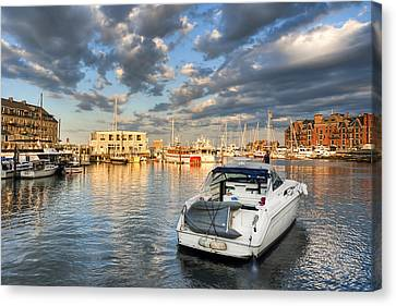 Sunset On The Boston Waterfront Canvas Print by Mark E Tisdale