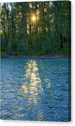 Canvas Print featuring the photograph Sunset On The Bulkley by Mary Lee Dereske
