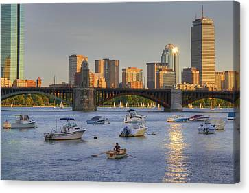 Sunset On The Charles Canvas Print by Joann Vitali