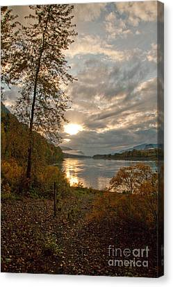 Sunset On The Columbia Canvas Print by Cari Gesch