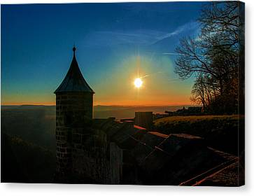 Sunset On The Fortress Koenigstein Canvas Print