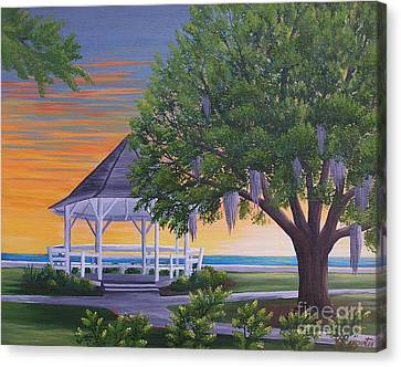 Sunset On The Gazeebo Canvas Print