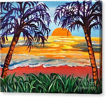 Canvas Print featuring the painting Sunset On The Gulf by Ecinja Art Works