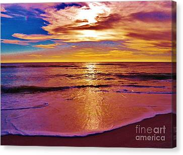 Sunset On The Gulf Canvas Print by Judy Via-Wolff