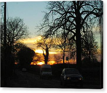Sunset On The High Way  Canvas Print by Joyce Woodhouse