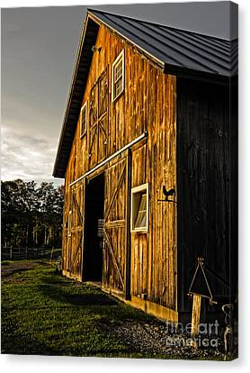 Horse Stable Canvas Print - Sunset On The Horse Barn by Edward Fielding