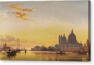 Sunset On The Lagoon Of Venice Canvas Print by Edward William Cooke