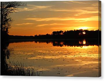 Sunset On The Lake Canvas Print by Cynthia Guinn