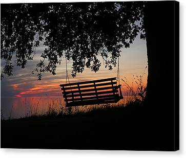 Sunset On The Lake Canvas Print by Heather Allen