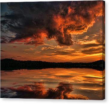 Sunset On The Lake Canvas Print by Rick Friedle