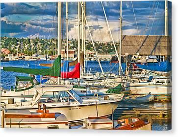 Sunset On The Marina Canvas Print