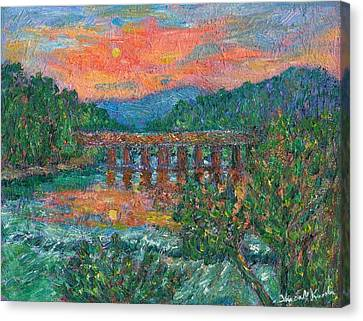 Sunset On The New River Canvas Print by Kendall Kessler