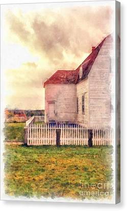 Sunset On The Old Farm House Canvas Print by Edward Fielding