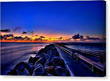Canvas Print featuring the painting Sunrise On The Pier by Bruce Nutting