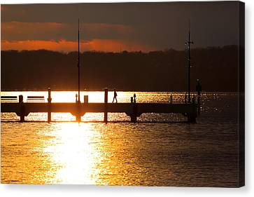 Sunset On The Pier Canvas Print