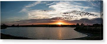 Canvas Print featuring the photograph Sunset On The Pond by Dawn Romine