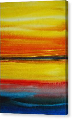 Canvas Print featuring the painting Sunset On The Puget Sound by Jani Freimann