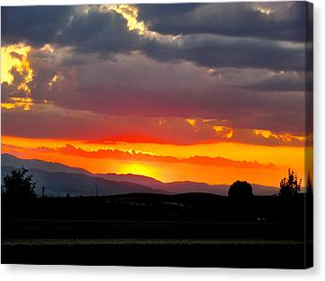 Sunset On The Road Canvas Print