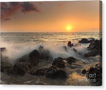 Sunset On The Rocks Canvas Print by Mike  Dawson