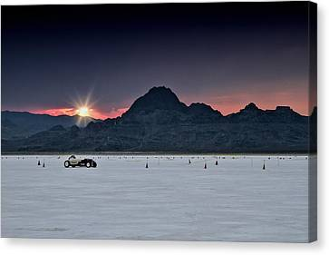 Salt Flats Canvas Print - Sunset On The Salt Bonneville 2012 by Holly Martin