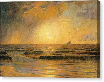 Sunset On The Sea Canvas Print by Rene Menard