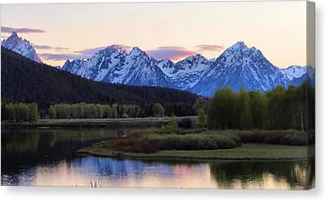 Sunset On The Tetons Canvas Print by Dan Sproul