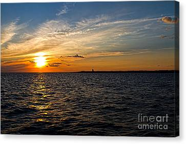 Sunset On The Water In Provincetown Canvas Print by Eleanor Abramson