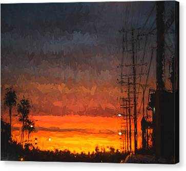 Canvas Print featuring the painting Sunset On Ventura Boulevard by Ike Krieger