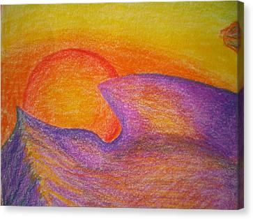 Sunset On Wavy Mountains Detail Of Sun Canvas Print