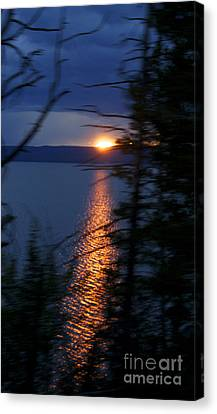 Sunset On Yellow Stone Lake 1 Canvas Print