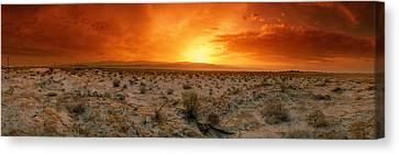 Sunset Over A Desert, Palm Springs Canvas Print by Panoramic Images