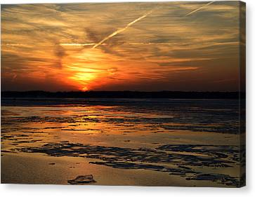 Canvas Print featuring the photograph Sunset Over A Frozen Chesapeake Bay by Bill Swartwout