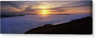Sunset Over A Lake, Loch Lomond, Argyll Canvas Print by Panoramic Images