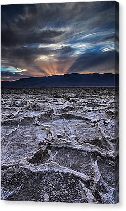 Sun Rays Canvas Print - Sunset Over Badwater by Andrew Soundarajan