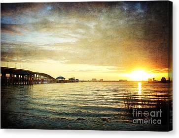 Sunset Over Biloxi Bay Canvas Print by Joan McCool