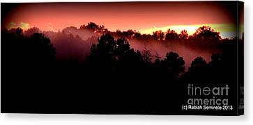 Sunset Over Blue Horse Rescue Canvas Print
