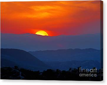 Canvas Print featuring the photograph Sunset Over California by Martin Konopacki