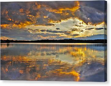 Canvas Print featuring the photograph Sunset Over Canobie Lake by Sebastien Coursol