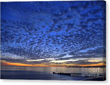 Sunset Over Cement Ship Canvas Print