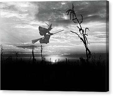 Wiccan Canvas Print - Sunset Over Cornfield With Silhouette by Vintage Images