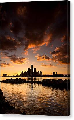 Sunset Over Detroit Canvas Print by Cale Best